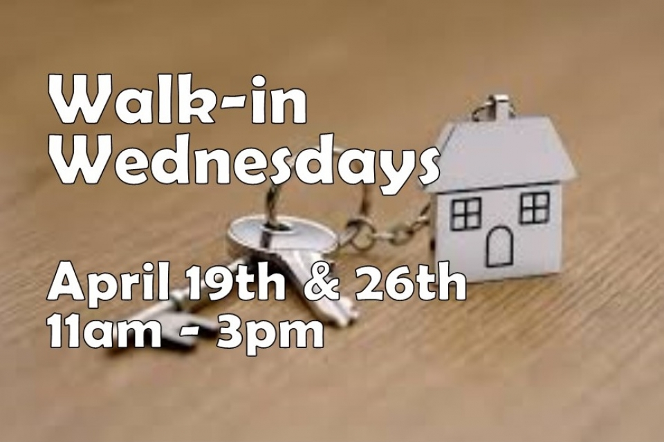 Walk-in Weds, 4/19 & 4/26, 11am to 3pm